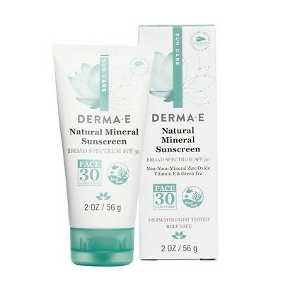 DERMA E - Natural Mineral Sunscreen Broad Spectrum SPF 30 for Face - 2oz/56g