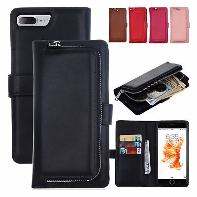 Removable Zipper Leather Wallet Case Cover Purse Card Slot for iPhone X 6 7 8 8+