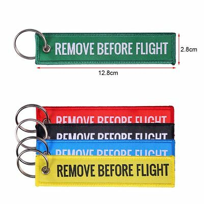 Remove Before Flight RED Embroidered Label Key Chain Luggage Tag