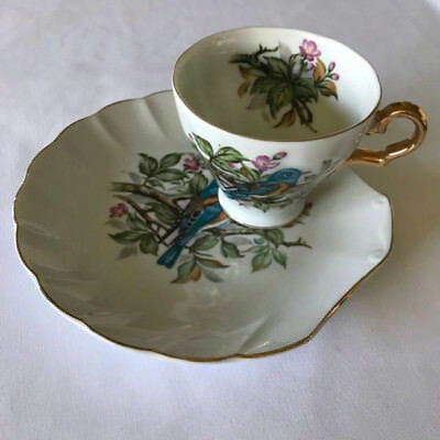 SAJI Fine China, tennis snack cup and saucer. Very Good Condition. Made in Japan