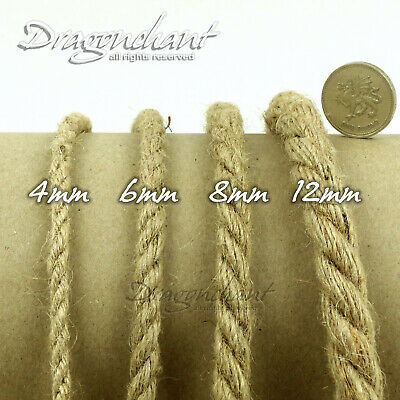 4/6/8/12mm 3ply THICK Shabby Chic Rustic Natural Jute Twine Hessian Hemp