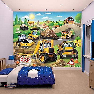 WALLTASTIC JCB TRUCKS Wall Mural Kids Bedroom Wallpaper Mural Free P