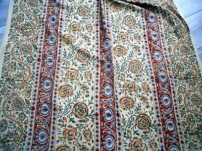 Antique 19Th-Century Kalamkari  Cotton Linen   Floral Decor Curtain Panel