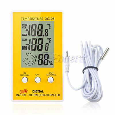 DC105 LCD Digital Indoor Outdoor Humidity Hygrometer Thermometer Meter  Cable