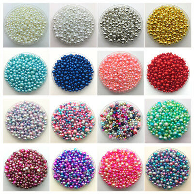 4-10mm 15g Mix Size No Hole Imitation Pearls Round Beads DIY Jewelry Making #CA