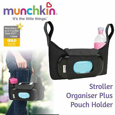 Munchkin Stroller Organiser Plus│Buggy Pushchair Storage│Pouch Pram Wipe Holder
