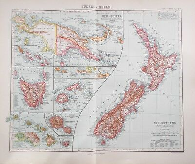 Map of New Zealand and South Sea Islands .1909. Stieler. PACIFIC. NEW GUINEA