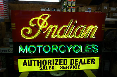 "INDIAN MOTORCYCLE. NEON INDIAN MOTORCYCLE SIGN . HUGE 44.5"" by 71"". HUGE!"