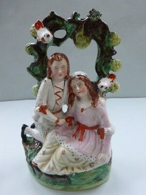 19Thc. Staffordshire Arbour Group Of Two Lovers With Doves C.1850-60