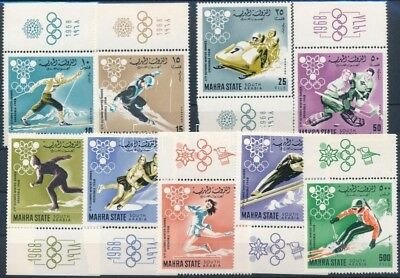 Aden Mahra State stamp Winter Olympics, Grenoble set MNH,Imp. 1967 WS250912