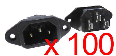 100x Rong Feng SS-7B VDE Male IEC 320 C14 AC Socket Mains Power Plug 10/15A 250V