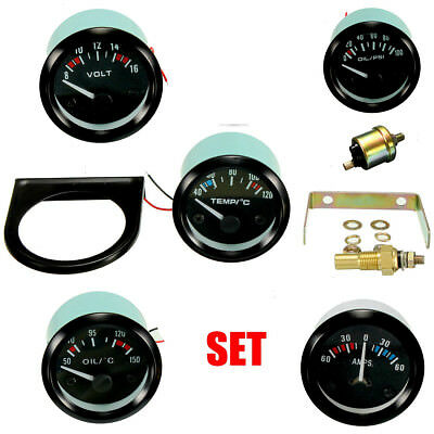 2'' 52MM LED Car /Water/Oil Temp/Pressure/Volt/Ammeter AMPS Meter Gauge Pointer