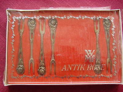 WMF Antique Rose 90 Silver Plated 6 Bowl / Snail Fork NEW AND SEALED