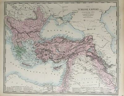 1865 Good size antique SDUK / Walker Map of Turkish Empire in Europe & Asia