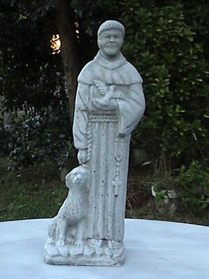 St Francis W/dog Gray Cement Antiqued White - Painted Concrete