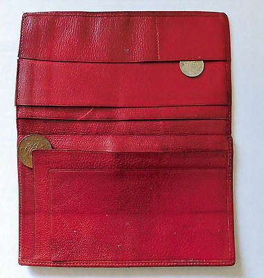 Old red leather wallet vintage 1950s 1960s good quality