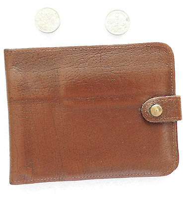 English brown real leather wallet vintage 1960s 1970s slot for pound notes £1 £5