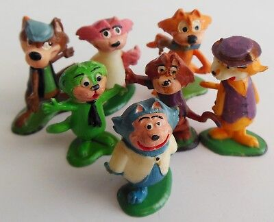7 Vintage 1960's Marx Tinykins Hanna Barbera Top Cat & Ding-A-Ling Wolf Figures