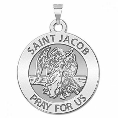 Saint Jacob Religious Medal - - 3/4 Inch Size of a Nickel -Sterling Silver