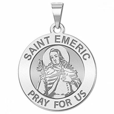 Saint Emeric Round Religious Medal - - 3/4 Inch Size of a Nickel -Sterling Silve