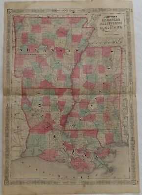 "1864 Civil War Era ""Lousiana Arkansas Mississippi"" Johnsons Antique Map Atlas"