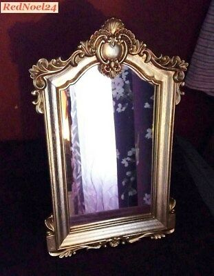Vintage Mirror, Rococo Style, Gilded Small Gold Frame Mirror with back stand
