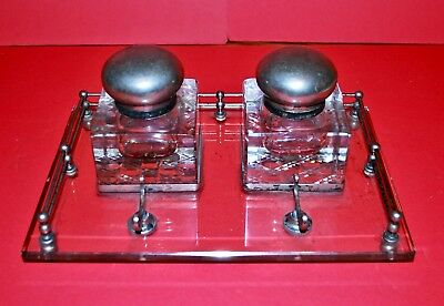 Antique Glass Desk Double Inkwell Set
