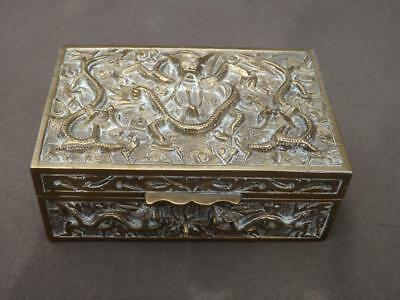 Antique Chinese Brass Dragon Serpent Trinket Scholar Box Wood Lined EXC
