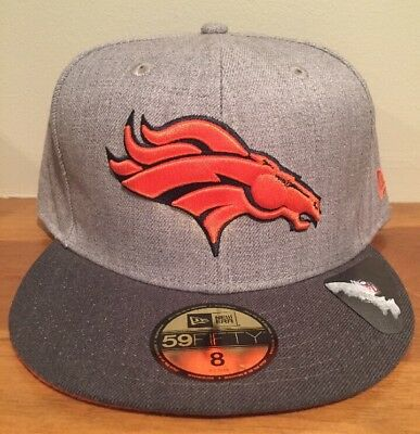 the best attitude d1b6e 935f7 Official Denver Broncos New Era 59FIFTY Fitted Hat NFL Heather 2 Tone Size 8