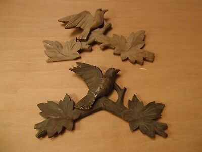 Decorative Antique Hand Carved Cuckoo Clock Pediments Crest Bird in Branches