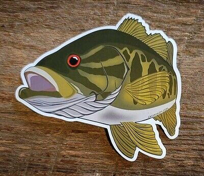 SMALLMOUTH BASS Skull /& Crossbones Stickers Decals fly fishing rods flies