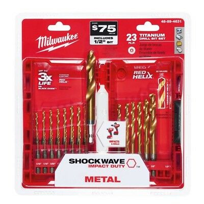 New Titanium Shockwave Drill Bit Set 23pc Kit + Case Milwaukee 48-89-4631