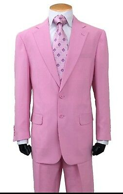 Men's 2-Button Single Breasted Suit  Comes with Pants All sizes 38-60 Hot Pink