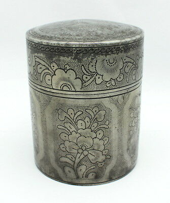 Fine Antique Chinese Pewter Tea Caddy Marked
