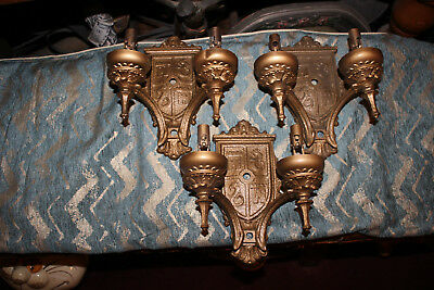 Antique Victorian Medieval Coat Of Arms Wall Sconce Light Fixtures-3 Pieces-Star