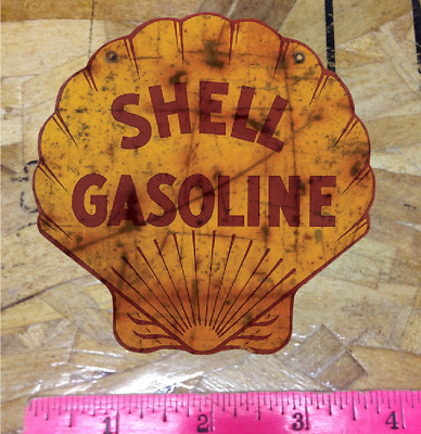 """Shell Oil Co 4"""" Rusty Vintage look distressed Vinyl Decal Sticker"""