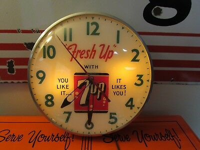 Vintage 7 Up Clock * Lighted * Ohio Advertising Display Company