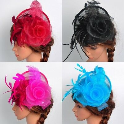 US Women's Fascinator Hat Feather Headdress Cap Cocktail Party Fishnet Headband