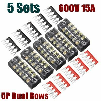 5 Ground Circuit Terminal Blocks Dual Row 5 Position Screw Terminal Strip + 600V