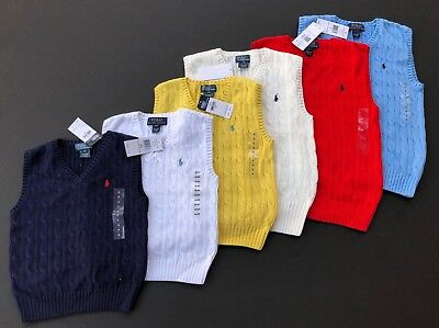 Ralph Lauren Polo V Neck Vest Sweater Cable Knit Dressy Kids Sizes 2T 4 5 7 NEW