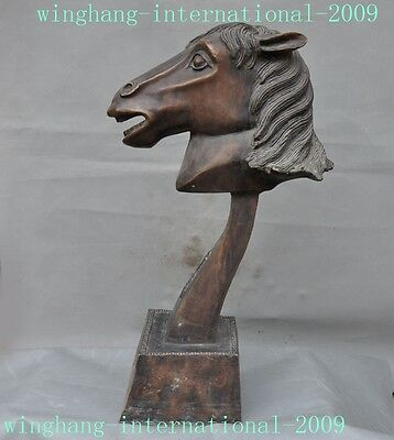 rare Old chinese feng shui bronze 12 Zodiac animal horse head Statue sculpture
