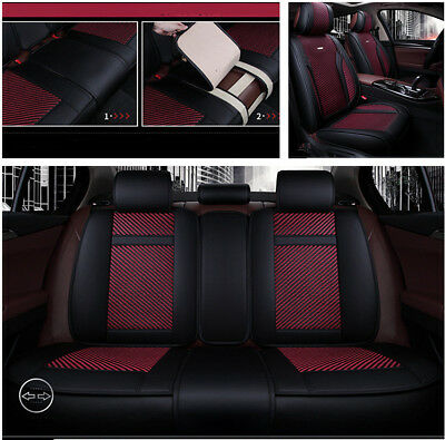 5D Black+Red PU Leather+Ice Silk Car Seat Cover Four Season Fit For 5 Seater Car