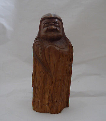 Japanese Daruma Statue Bodhidharma Natural Wood Red Pine Hand Carved 10in 25.5cm