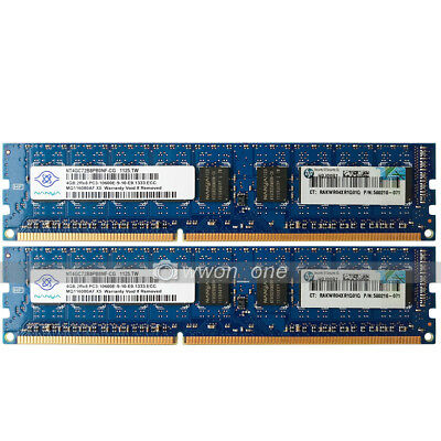 Nanya 8GB 2x4GB 2Rx8 PC3-10600E DDR3 1333Mhz ECC Unbuffered Server Memory 240Pin