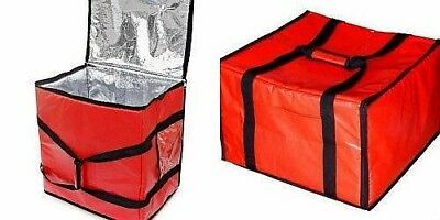 Insulated Pizza Delivery Box Bag Food Warmer Red Carrying Straps Fits 6 Boxes