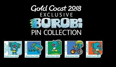 Gold Coast 2018 Commonwealth Games Borobi Pin Collection 5 Piece Set + Cardboard