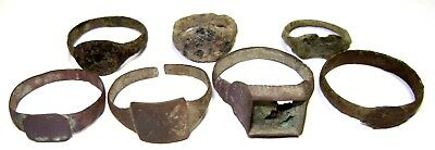 Ancient medieval lot of 7 bronze Rings.