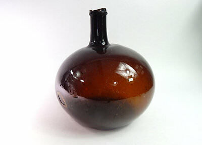 French Antique Demi-john in Deep Amber from the Alsace region