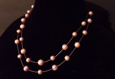 """Honora Champagne Double Strand Stainless Steel Cultured Pearl Necklace 18"""""""