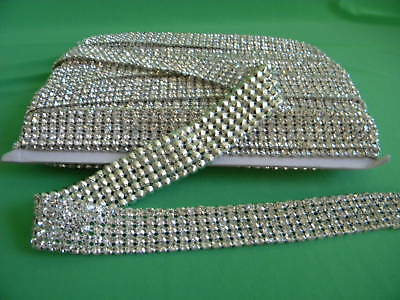 "30"" 5 Row Rhinestone Crystal Banding Trim Silver~1"" Wide"